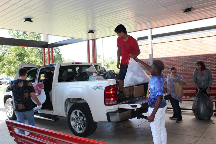 Loading the donations for the hurricane victims.