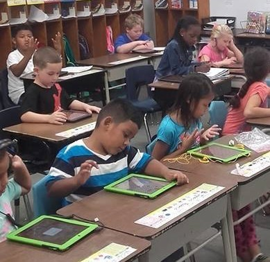 Mrs. King's Class using iPads