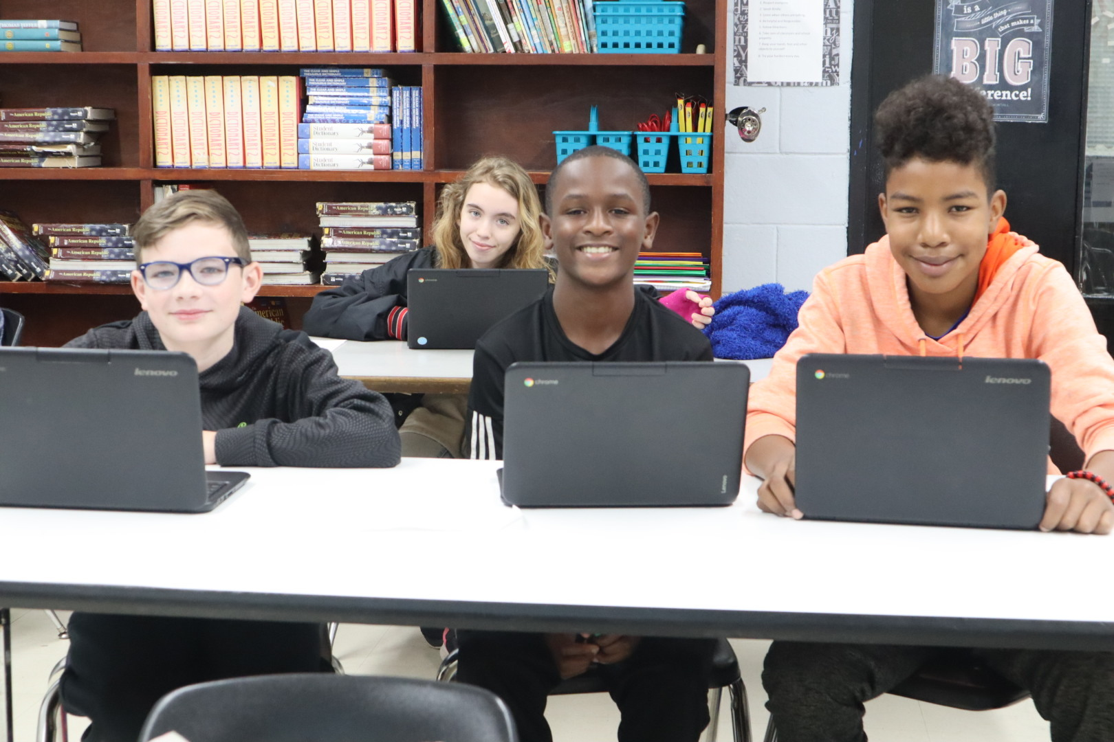 Marshall Woods, Cordavious Hankins, & Trevon Jumper all enjoy working on their Chromebooks